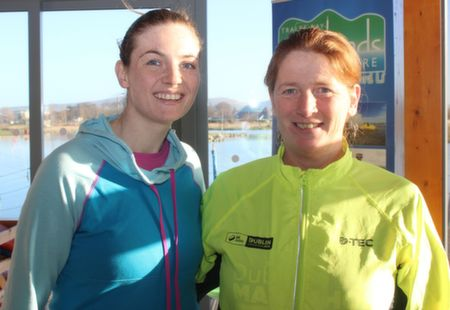 Jenny and Colette O'Sullivan before the start of the Tralee Musical Society 5k Run from Tralee Wetlands on Sunday morning. Photo by Dermot Crean