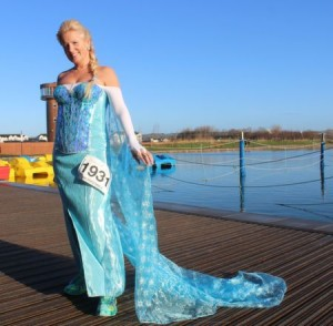 'Elsa' aka Marilyn O'Shea before the start of the Tralee Musical Society 5k Run from Tralee Wetlands on Sunday morning. Photo by Dermot Crean