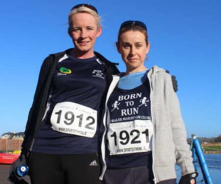 Michelle Greaney and Anne Kelliher before the start of the Tralee Musical Society 5k Run from Tralee Wetlands on Sunday morning. Photo by Dermot Crean