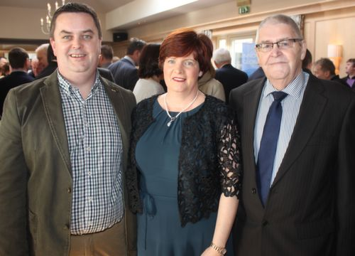 Terry and Ann Marie Healy and Terry Healy Snr at the Austin Stacks GAA Corporate Lunch Fundraiser at the Ballygarry House Hotel on Friday. Photo by Dermot Crean