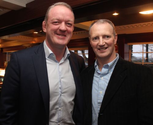 Mick Galway and Seamus O'Sullivan (both Kerry minors in 1984) at the Austin Stacks GAA Corporate Lunch Fundraiser at the Ballygarry House Hotel on Friday. Photo by Dermot Crean