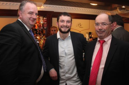 Micheál Moran, Eoghan Galvin and Michael Hickey at the Austin Stacks GAA Corporate Lunch Fundraiser at the Ballygarry House Hotel on Friday. Photo by Dermot Crean