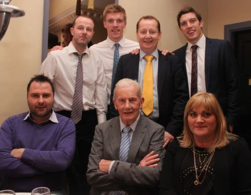 In front; Paul Brennan, Christy Murray and Siobhan Murphy, with, at back, Joe O'Mahony, Tommy Walsh, Ronan Murray and David Moran at the Austin Stacks GAA Corporate Lunch Fundraiser at the Ballygarry House Hotel on Friday. Photo by Dermot Crean