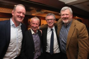 Mick Galwey, Tom Cooper, Joe Brolly and Eoin Liston at the Austin Stacks GAA Corporate Lunch Fundraiser at the Ballygarry House Hotel on Friday. Photo by Dermot Crean