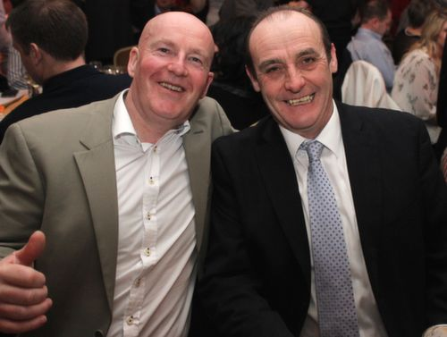 Tommy Dowling and John Higgins at the Austin Stacks GAA Corporate Lunch Fundraiser at the Ballygarry House Hotel on Friday. Photo by Dermot Crean