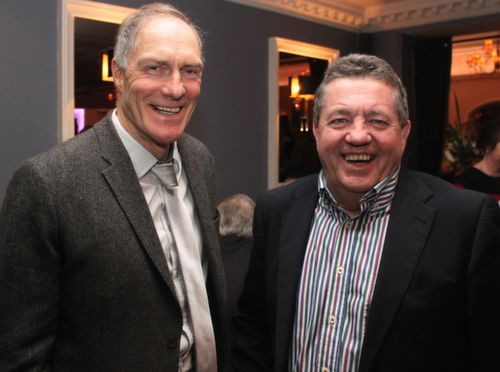 Former Rock team-mates John O'Keeffe and Jackie Power at the Austin Stacks GAA Corporate Lunch Fundraiser at the Ballygarry House Hotel on Friday. Photo by Dermot Crean