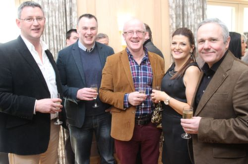 Ben Murphy, Rory Kirby, John Higgins, Claire Murphy and Sean Field at the Austin Stacks GAA Corporate Lunch Fundraiser at the Ballygarry House Hotel on Friday. Photo by Dermot Crean