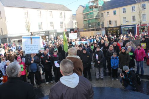 The crowd in The Square at the protest against water charges on Saturday. Photo by Dermot Crean