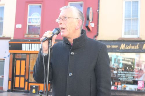 Cllr Sam Locke at the protest against water charges on Saturday. Photo by Dermot Crean