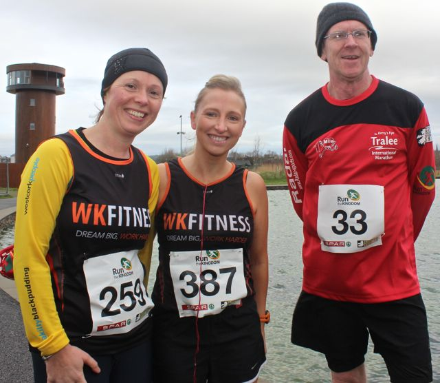 Ciara Ní Shé, Nicola Sheehy and Noel Byrne at the Tralee Valentine 10 Mile Road Race from Tralee Wetlands on Sunday morning. Photo by Dermot Crean