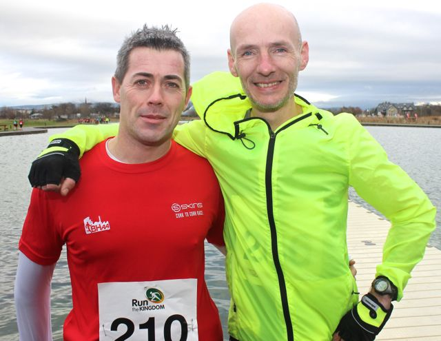 Trevor Leen and Billy O'Brien at the Tralee Valentine 10 Mile Road Race from Tralee Wetlands on Sunday morning. Photo by Dermot Crean
