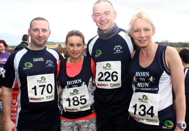 David Hughes, Anne Kelliher, Den McCarthy and Michelle Greaney at the Tralee Valentine 10 Mile Road Race from Tralee Wetlands on Sunday morning. Photo by Dermot Crean