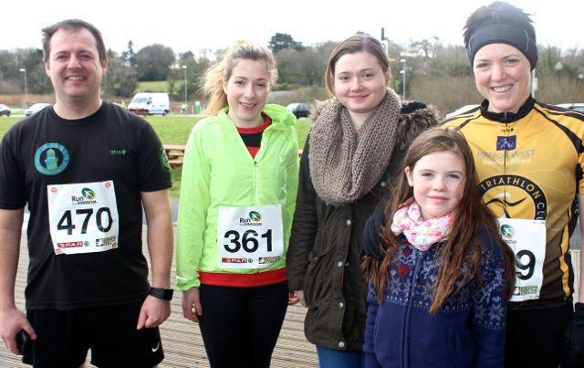 Maurice Breen, Catherine Rahilly, Siobhan Rahilly and Siobhan and Rachel Griffin at the Tralee Valentine 10 Mile Road Race from Tralee Wetlands on Sunday morning. Photo by Dermot Crean