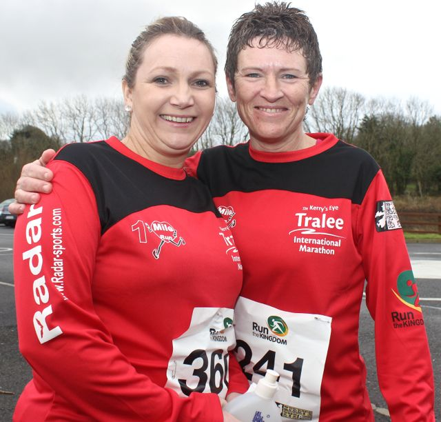 Jeanette Quirke and Susan O'Sullivan at the Tralee Valentine 10 Mile Road Race from Tralee Wetlands on Sunday morning. Photo by Dermot Crean