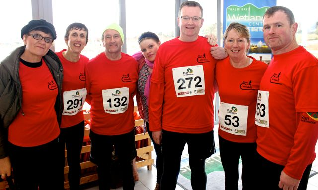Joan Glover, Anne O'Leary, George Glover, Hannah McCarthy, Fred O'Connell, Catherine Conroy and John O'Sullivan at the Tralee Valentine 10 Mile Road Race from Tralee Wetlands on Sunday morning. Photo by Dermot Crean