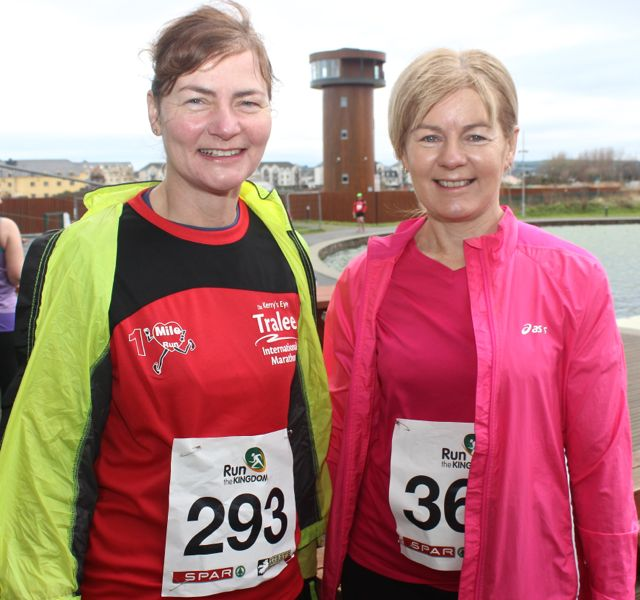 Catherine O'Mahony and Rena Ruane at the Tralee Valentine 10 Mile Road Race from Tralee Wetlands on Sunday morning. Photo by Dermot Crean