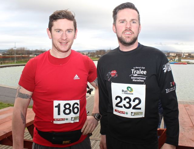 John Kelliher and John McGillycuddy at the Tralee Valentine 10 Mile Road Race from Tralee Wetlands on Sunday morning. Photo by Dermot Crean