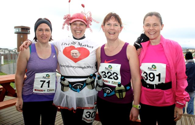 Emma Cunnane, Ashley O'Shea, Mags O'Connor and Tracy Smith at the Tralee Valentine 10 Mile Road Race from Tralee Wetlands on Sunday morning. Photo by Dermot Crean