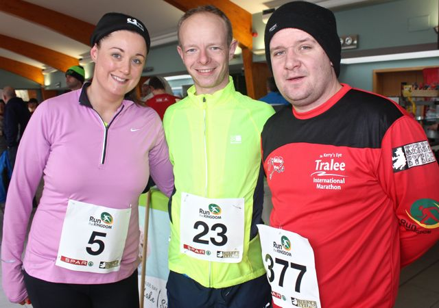 Angela Dobinson, Mike Browne and Derek Shanahan at the Tralee Valentine 10 Mile Road Race from Tralee Wetlands on Sunday morning. Photo by Dermot Crean
