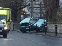 Gardaí And Ambulance Attend Rathass Crash As Car Ends Up On Wall