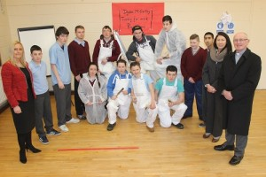 In St Ita's and St Joseph's school launching the new painting and decorating course in honour of Dylan McCarthy was from left: Grace Sheehan (Principal), Robert Coffey, Frank Kennedy, James Martin, CJ Miller, Dean O'Keefe, Blake O'Gorman, Jamie O'Brien, Daniel Guynu, Caroline Desmomd and Fr Patsy Lynch. Front: Chloe Flaherty, Jordan, Richard and Leroy McCarthy. Photo by Gavin O'Connor.