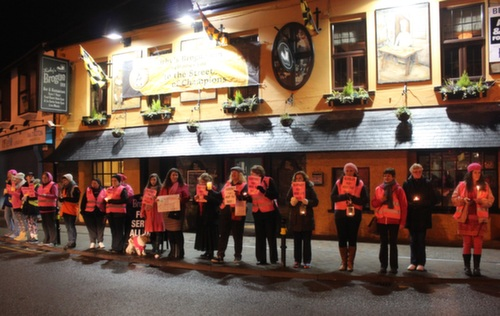 The scene outside the Brogue Inn before Joan Burton's arrival. Photo by Gavin O'Connor.