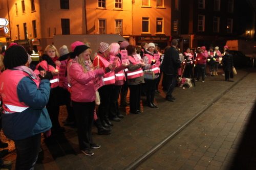 The 'Pink Ladies' peaceful  protest against the water charges outside the Brogue in where Tánaiste, Joan Burton held a meeting with local members of the Labour Party. Photo by Gavin O'Connor.