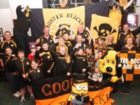 Austin Stacks supporters gearing up for Sunday in the Connolly Park clubhouse. Photo by Gavin O'Connor.
