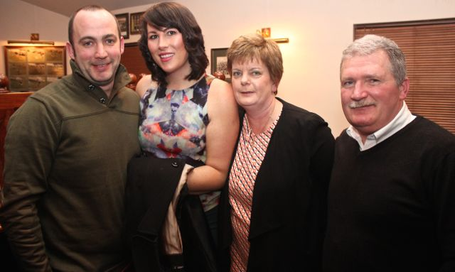 Tim Cotter, Siobhan Cotter, Sinead Moriarty and Jack Moriarty at the St Brendan's Park Reunion Night in the Austin Stack Clubhouse on Friday night. Photo by Dermot Crean