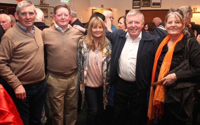 Michael Sugrue, Joe Carey, Finola Carey, Gat Carey and Gabriel Harte at the St Brendan's Park Reunion Night in the Austin Stack Clubhouse on Friday night. Photo by Dermot Crean
