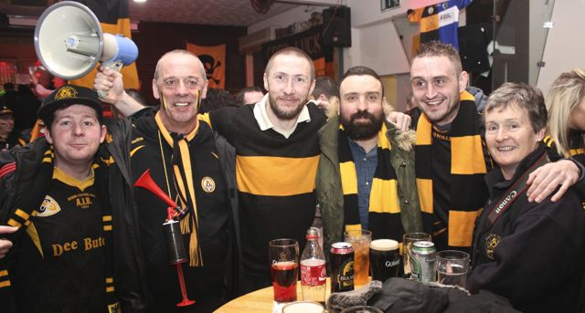 Frankie Murphy, John Gotteridge, Billy Sheehan, Padraig Locke, Dave Billings and Adrienne McLoughlin at O'Loughlin's Hotel in Portlaoise prior to the game on Sunday. Photo by Dermot Crean