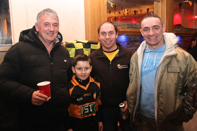Paudie Looney, Donnacha Sayers, Denis Sayers and Jimmy Carton at O'Loughlin's Hotel in Portlaoise prior to the game on Sunday. Photo by Dermot Crean