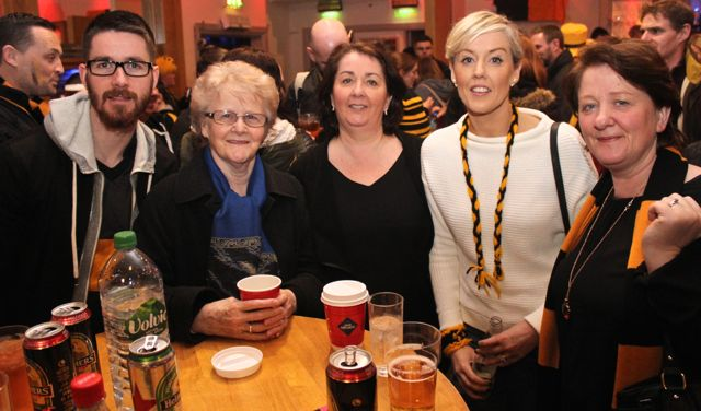 Joseph Kinsella, Sr Kathleen Collison, Mary Kinsella, Aileen Galvin and Sarah Galvin at O'Loughlin's Hotel in Portlaoise prior to the game on Sunday. Photo by Dermot Crean