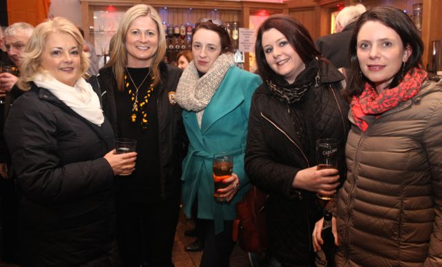 Noreen Landers, Siobhan Naughton, Deborah Meehan, Susan Healy and Barbara Liston at O'Loughlin's Hotel in Portlaoise prior to the game on Sunday. Photo by Dermot Crean