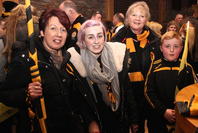 Martina, Katie and Ann Slattery and Sean Naughton at O'Loughlin's Hotel in Portlaoise prior to the game on Sunday. Photo by Dermot Crean