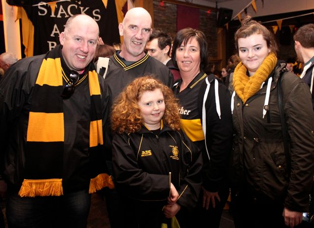 Seamus 'Mog's O'Mahony, Ed O'Connor, Alannah O'Connor, Tracy and Shannon Dowling at O'Loughlin's Hotel in Portlaoise prior to the game on Sunday. Photo by Dermot Crean