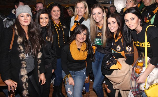 Aisling O'Brien, Kayleigh Quirke, Sharon Cronin, Gillian Barrett, Aisling O'Mahony, Sarah Hobbert, Nicole Roche and in front, Lorraine Counihan at O'Loughlin's Hotel in Portlaoise prior to the game on Sunday. Photo by Dermot Crean