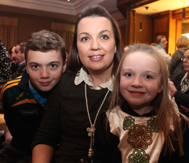 Conor, Grainne and Chloe O'Sullivan at the 'Talent Of Tralee' fundraising concert on Friday night in the Fels Point Hotel. Photo by Dermot Crean