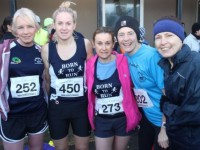 Michelle Greaney, Helen Tansley, Anne Kelliher, Ursula Barrett and Marian Bowler at the start of the Kerins O'Rahilly's GAA 10k Run on Sunday. Photo by Dermot Crean