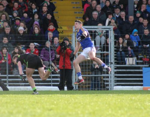 Paul Geaney lets fly during the Allianz League game between Kerry and Mayo at Killarney on Sunday. Photo by Dermot Crean