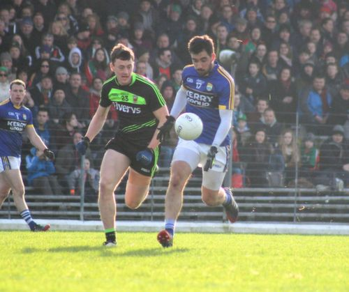 Mayo's Diarmaid O'Connor keeps close tabs on Kerry's Jack Sherwood during the Allianz League game between Kerry and Mayo at Killarney on Sunday. Photo by Dermot Crean