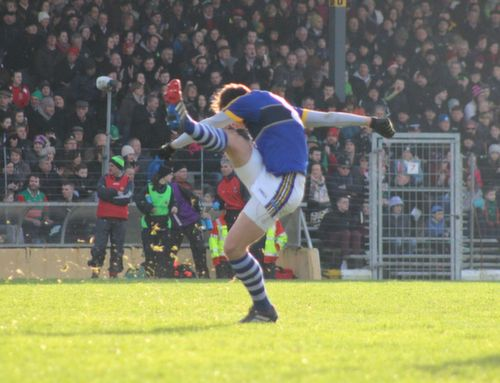 David Moran scores one of his two points during the Allianz League game between Kerry and Mayo at Killarney on Sunday. Photo by Dermot Crean