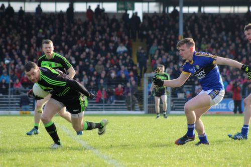 Keith Higgins of Mayo and Conor Keane of Kerry in action during the Allianz League game between Kerry and Mayo at Killarney on Sunday. Photo by Dermot Crean