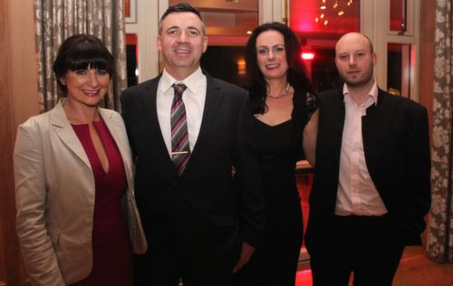 Sheila and Thomas McQuinn with Sinead and Gregory Herve at the Lee Strand Social at Ballygarry House Hotel on Saturday night. Photo by Dermot Crean