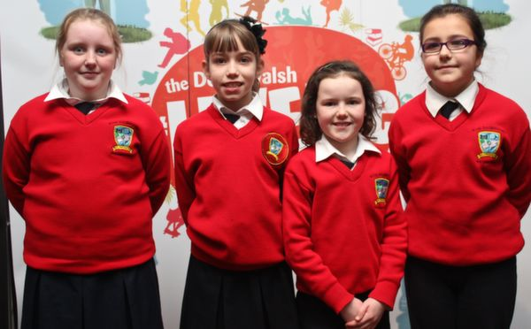 Pupils of Bouleenshere National School at the 'Live Life Love Concert' were, from left: Katie Godley, Niamh Dineen, Maggie Stack and Jayda Carmen. Photo by Gavin O'Connor.