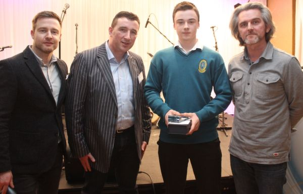 Ben Kavanagh of Mercy Mounthawk won the 2nd prize in the intermediate category of the 'Live Life Love' Film Competition. With him, left to right: Aidan Power, Pascal Sheehy and Maurice Galway Photo by Gavin O'Connor.