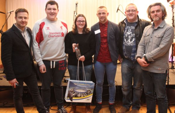 Students of the ITT accepting the first prize in third level category of the 'Live Life Love' Film Competition from left: Aidan Power, Ivan Hartley (ITT), Ciara Delaney (ITT), Barry John Keane, Micheal Doherty (ITT) and Maurice Galway. Photo by Gavin O'Connor