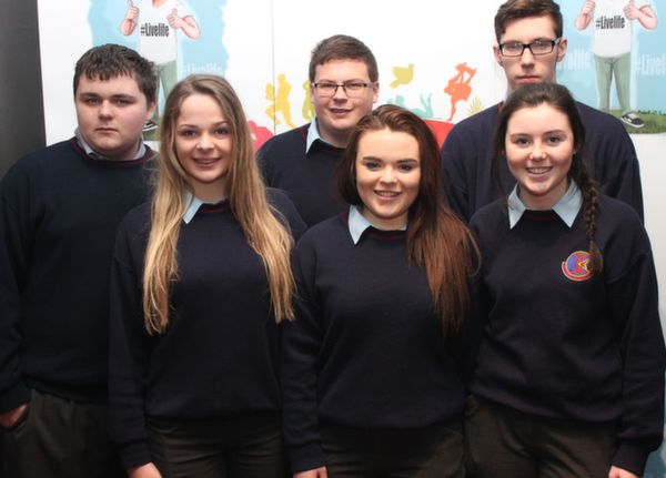 Students of Causeway Comprehensive Secondary School at the 'Live Life Love Concert' were, from left, front: Eilesh Harrington, Meagan Casey and Roisin Stack. Back: Brian Cahill, Sean O'Regan, Alban Stack. Photo by Gavin O'Connor.