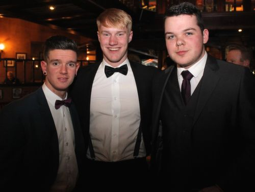 Darren Burns, Jack Carmody and Mark O'Connor at the Na Gaeil GAA Celebration Night at The Meadowlands Hotel on Saturday. Photo by Dermot Crean