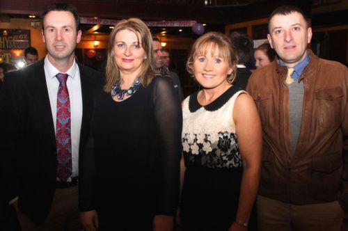 Terry and Pam McEneaney with Jacinta and Mark Bourke at the Na Gaeil GAA Celebration Night at The Meadowlands Hotel on Saturday. Photo by Dermot Crean